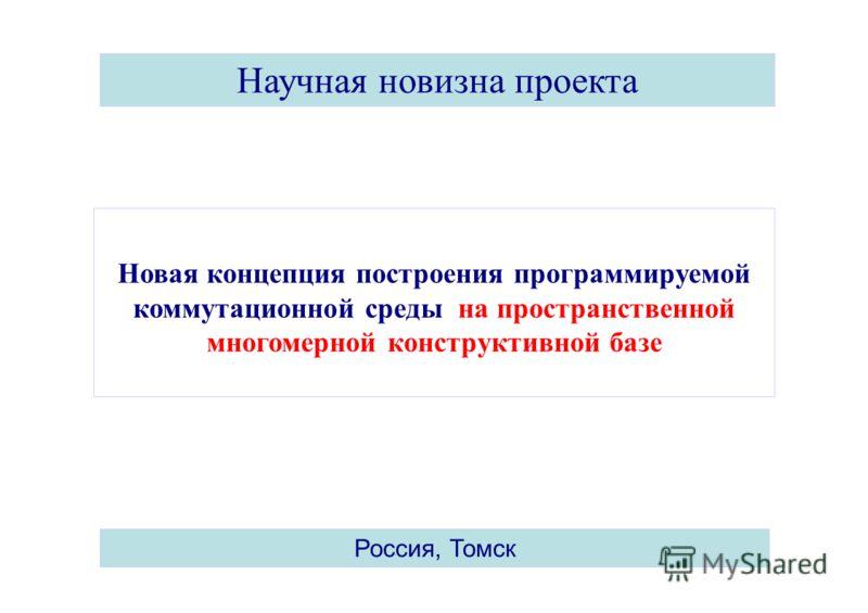 3 Научная новизна проекта Россия, Томск Новая концепция построения программируемой коммутационной среды на пространственной многомерной конструктивной базе