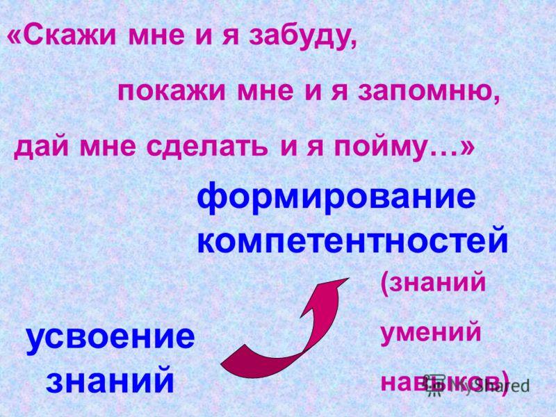 усвоение знаний формирование компетентностей «Скажи мне и я забуду, покажи мне и я запомню, дай мне сделать и я пойму…» (знаний умений навыков)