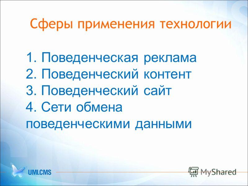 Сферы применения технологии 1. Поведенческая реклама 2. Поведенческий контент 3. Поведенческий сайт 4. Сети обмена поведенческими данными