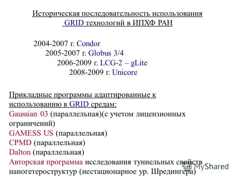 Историческая последовательность использования GRID технологий в ИПХФ РАН 2004-2007 г. Condor 2005-2007 г. Globus 3/4 2006-2009 г. LCG-2 – gLite 2008-2009 г. Unicore Прикладные программы адаптированные к использованию в GRID средам: Gaussian 03 (парал