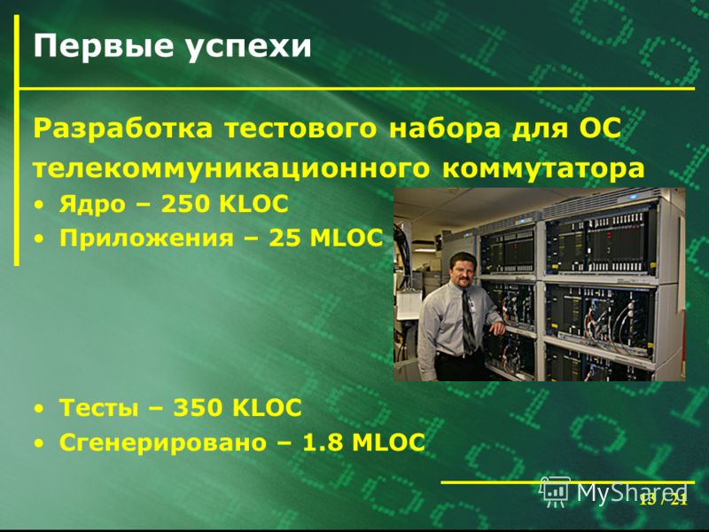 13 / 21 Первые успехи Разработка тестового набора для ОС телекоммуникационного коммутатора Ядро – 250 KLOC Приложения – 25 MLOC Тесты – 350 KLOC Сгенерировано – 1.8 MLOC