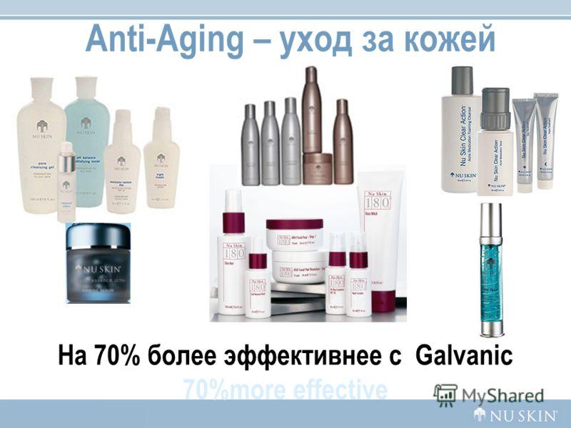 На 70% более эффективнее с Galvanic 70%more effective Anti-Aging – уход за кожей