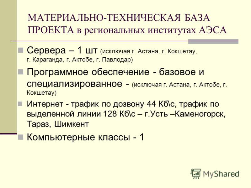 4 МАТЕРИАЛЬНО-ТЕХНИЧЕСКАЯ БАЗА ПРОЕКТА в региональных институтах АЭСА Сервера – 1 шт (исключая г. Астана, г. Кокшетау, г. Караганда, г. Актобе, г. Павлодар) Программное обеспечение - базовое и специализированное - (исключая г. Астана, г. Актобе, г. К