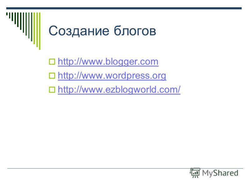 Создание блогов http://www.blogger.com http://www.wordpress.org http://www.ezblogworld.com/