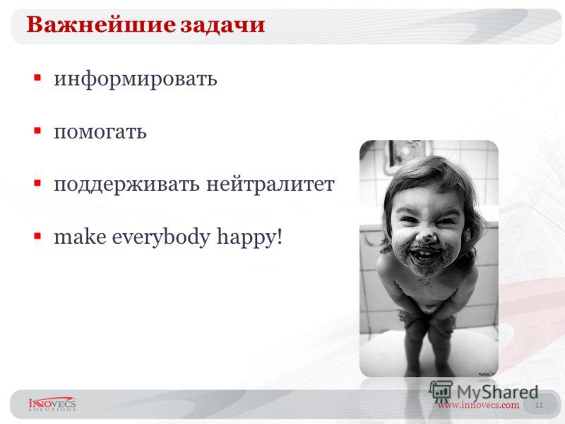 www.innovecs.com 11 Важнейшие задачи информировать помогать поддерживать нейтралитет make everybody happy!