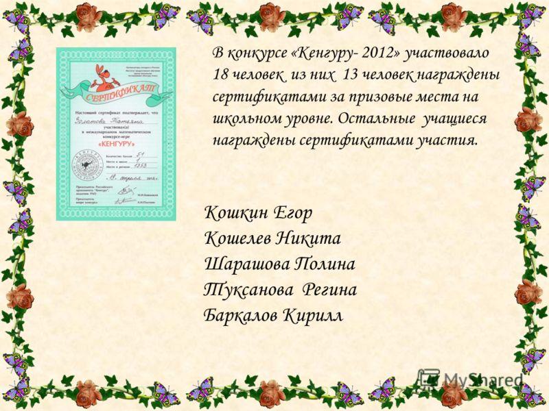 В конкурсе «Кенгуру- 2012» участвовало 18 человек из них 13 человек награждены сертификатами за призовые места на школьном уровне. Остальные учащиеся награждены сертификатами участия. Кошкин Егор Кошелев Никита Шарашова Полина Туксанова Регина Баркал