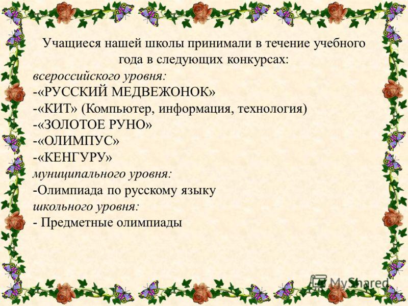Учащиеся нашей школы принимали в течение учебного года в следующих конкурсах: всероссийского уровня: -«РУССКИЙ МЕДВЕЖОНОК» -«КИТ» (Компьютер, информация, технология) -«ЗОЛОТОЕ РУНО» -«ОЛИМПУС» -«КЕНГУРУ» муниципального уровня: -Олимпиада по русскому
