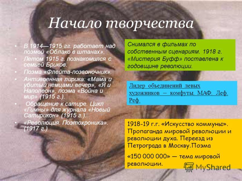 Начало творчества В 19141915 гг. работает над поэмой «Облако в штанах». Летом 1915 г. познакомился с семьей Бриков. Поэма «Флейта-позвоночник». Антивоенная лирика: «Мама и убитый немцами вечер», «Я и Наполеон», поэма «Война и мир» (1915 г.). Обращени