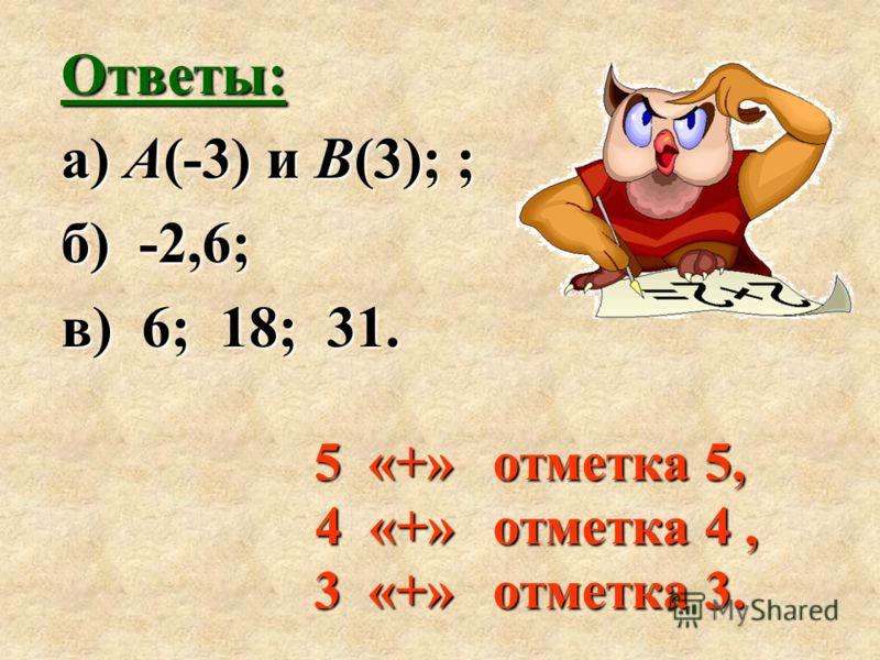 5 «+» отметка 5, 4 «+» отметка 4, 3 «+» отметка 3. Ответы: а) А(-3) и В(3); ; б) -2,6; в) 6; 18; 31.