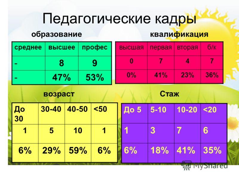 Педагогические кадры среднеевысшеепрофес -89 -47%53% высшаяперваявтораяб/к 0747 0%41%23%36% До 30 30-4040-50