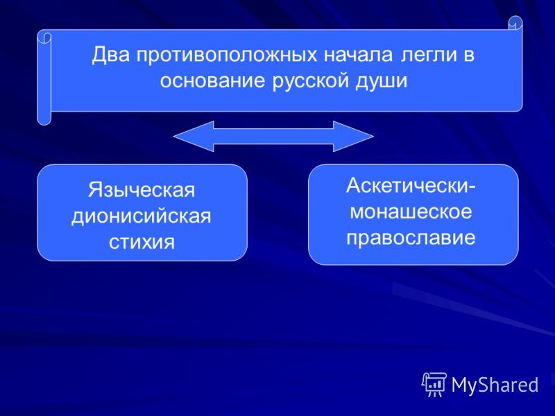 Два противоположных начала легли в основание русской души Языческая дионисийская стихия Аскетически- монашеское православие