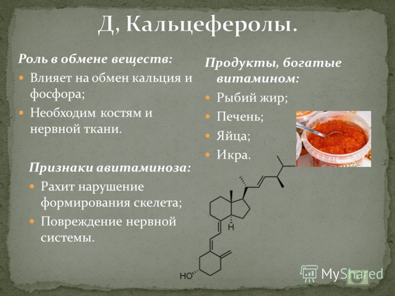 Роль в обмене веществ: Улучшает зрение; Влияет, на рост; Признаки авитаминоза: Поражение глаз; Сухость кожи; Задержка роста; Куриная слепота. Продукты, богатые витамином: Печень; Яйца; Молоко; Морковь; Абрикосы.