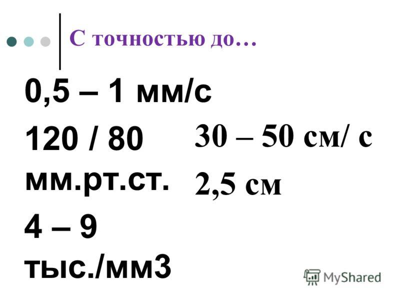 С точностью до… 0,5 – 1 мм/с 120 / 80 мм.рт.ст. 4 – 9 тыс./мм3 30 – 50 см/ с 2,5 см