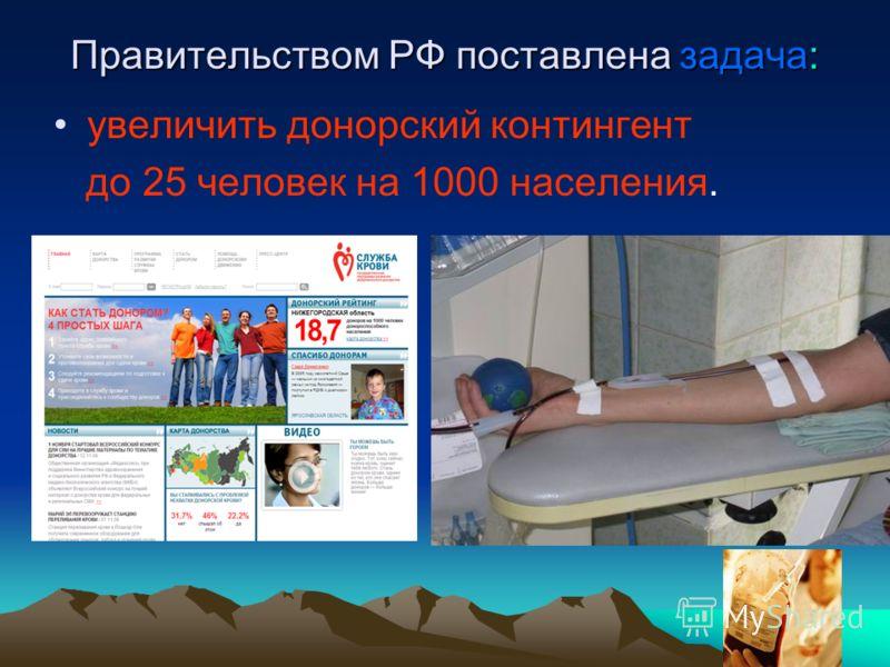 Правительством РФ поставлена задача: увеличить донорский контингент до 25 человек на 1000 населения.