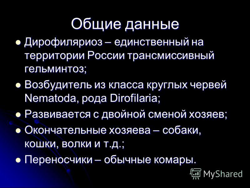 Дирофиляриоз – единственный на территории России трансмиссивный гельминтоз; Дирофиляриоз – единственный на территории России трансмиссивный гельминтоз; Возбудитель из класса круглых червей Nematoda, рода Dirofilaria; Возбудитель из класса круглых чер