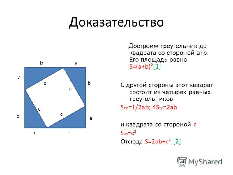 Доказательство Достроим треугольник до квадрата со стороной a+b. Его площадь равна S=(a+b)²[1] С другой стороны этот квадрат состоит из четырех равных треугольников S тр =1/2ab; 4S тр =2ab и квадрата со стороной с S кв =с² Отсюда S=2ab+c² [2] a b c a
