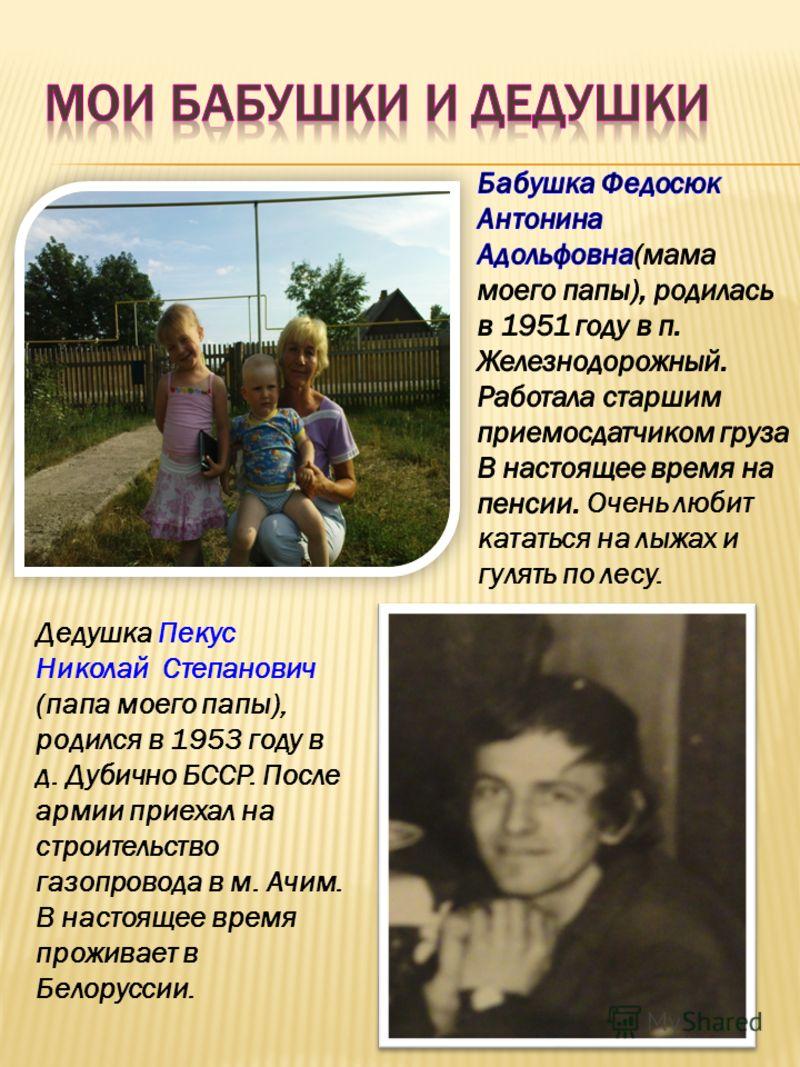 Дедушка Пекус Николай Степанович (папа моего папы), родился в 1953 году в д. Дубично БССР. После армии приехал на строительство газопровода в м. Ачим. В настоящее время проживает в Белоруссии.