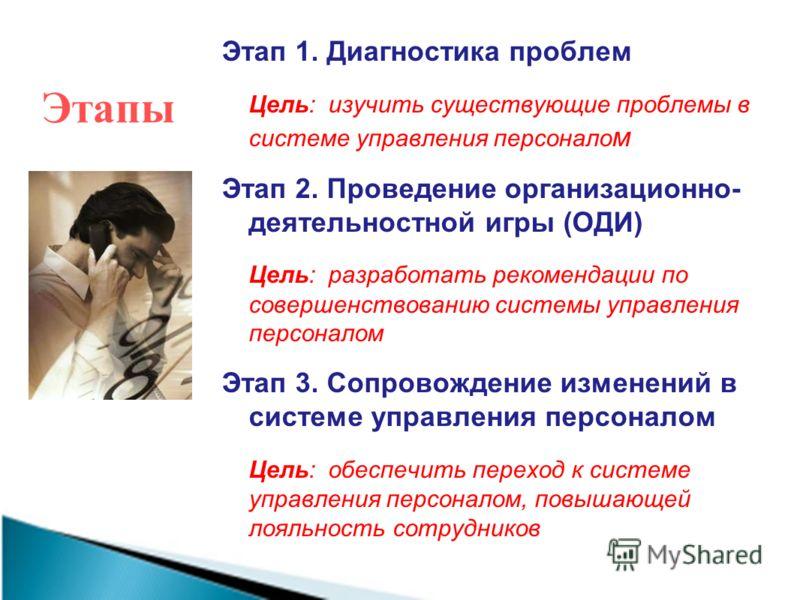 Этапы Этап 1. Диагностика проблем Цель: изучить существующие проблемы в системе управления персонало м Этап 2. Проведение организационно- деятельностной игры (ОДИ) Цель: разработать рекомендации по совершенствованию системы управления персоналом Этап