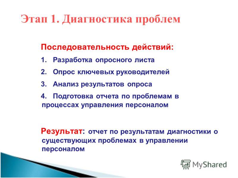 Этап 1. Диагностика проблем Последовательность действий: 1.Разработка опросного листа 2.Опрос ключевых руководителей 3.Анализ результатов опроса 4.Подготовка отчета по проблемам в процессах управления персоналом Результат: отчет по результатам диагно