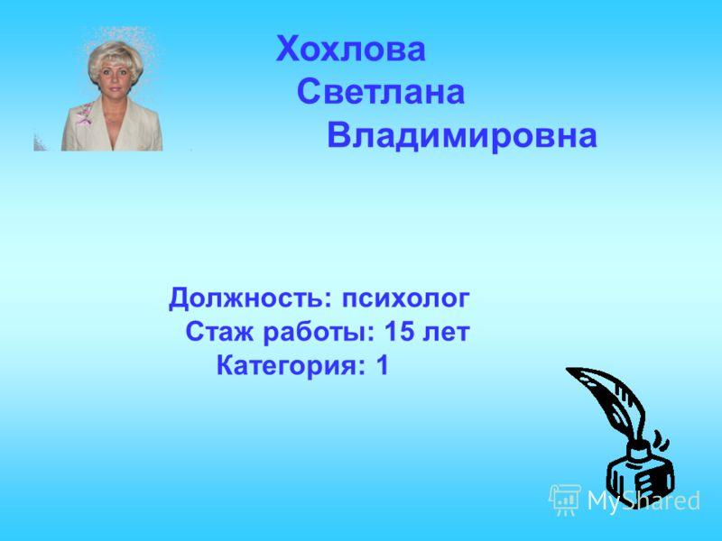 Хохлова Светлана Владимировна Должность: психолог Стаж работы: 15 лет Категория: 1