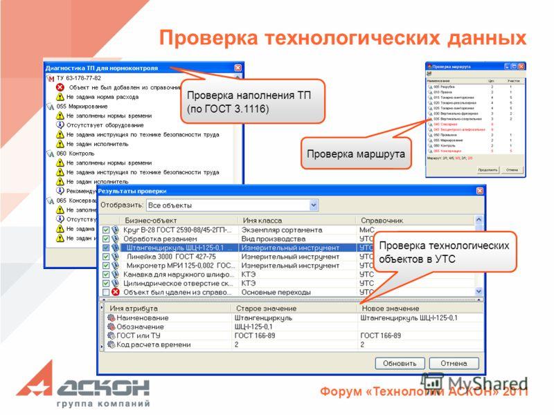 Форум «Технологии АСКОН» 2011 Проверка технологических данных Проверка маршрута Проверка технологических объектов в УТС Проверка наполнения ТП (по ГОСТ 3.1116)