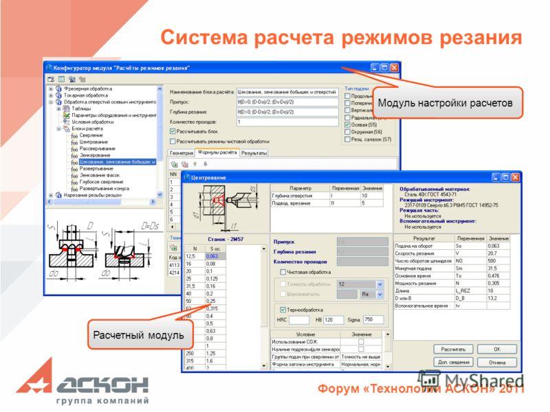 Форум «Технологии АСКОН» 2011 Система расчета режимов резания Расчетный модуль Модуль настройки расчетов