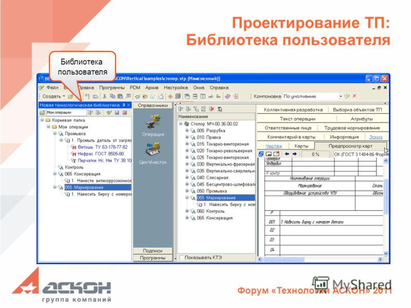 Форум «Технологии АСКОН» 2011 Проектирование ТП: Библиотека пользователя Библиотека пользователя