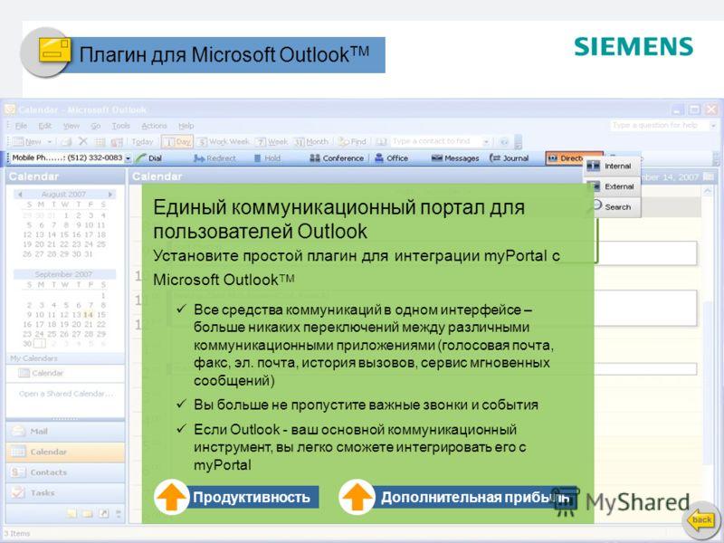 Стр. 13 Copyright © 2008. All rights reserved. Siemens Enterprise Communications Плагин для Microsoft Outlook TM Единый коммуникационный портал для пользователей Outlook Установите простой плагин для интеграции myPortal с Microsoft Outlook TM Все сре