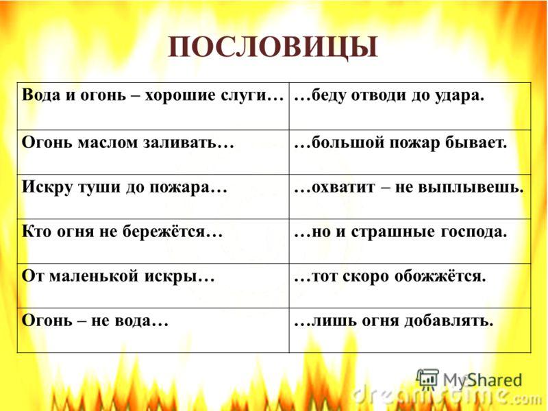 Вода и огонь – хорошие слуги……беду отводи до удара. Огонь маслом заливать……большой пожар бывает. Искру туши до пожара……охватит – не выплывешь. Кто огня не бережётся……но и страшные господа. От маленькой искры……тот скоро обожжётся. Огонь – не вода……лиш
