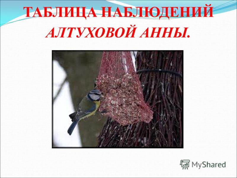 ТАБЛИЦА НАБЛЮДЕНИЙ АЛТУХОВОЙ АННЫ.