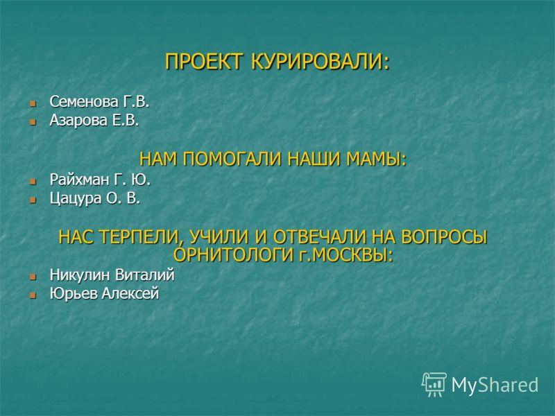 ПРОЕКТ КУРИРОВАЛИ: Семенова Г.В. Семенова Г.В. Азарова Е.В. Азарова Е.В. НАМ ПОМОГАЛИ НАШИ МАМЫ: Райхман Г. Ю. Райхман Г. Ю. Цацура О. В. Цацура О. В. НАС ТЕРПЕЛИ, УЧИЛИ И ОТВЕЧАЛИ НА ВОПРОСЫ ОРНИТОЛОГИ г.МОСКВЫ: Никулин Виталий Никулин Виталий Юрьев