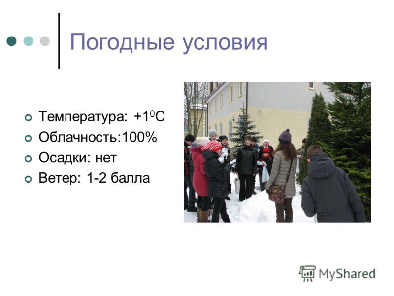 Погодные условия Температура: +1 0 C Облачность:100% Осадки: нет Ветер: 1-2 балла