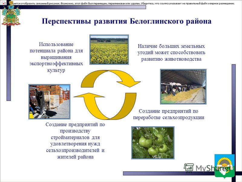 Перспективы развития Белоглинского района Использование потенциала района для выращивания экспортноэффективных культур Наличие больших земельных угодий может способствовать развитию животноводства Создание предприятий по производству стройматериалов