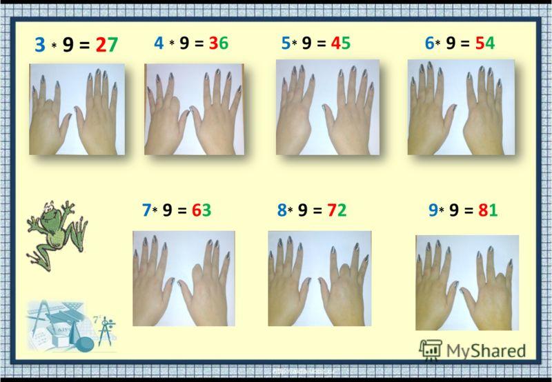 3 * 9 = 27 4 * 9 = 365 * 9 = 45 6 * 9 = 54 7 * 9 = 638 * 9 = 729 * 9 = 81