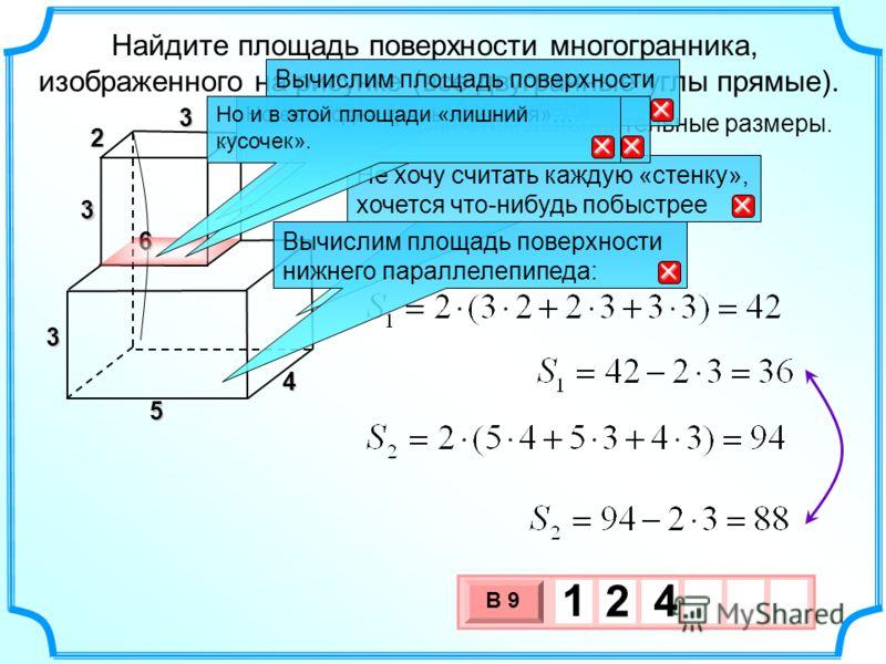 Найдите площадь поверхности многогранника, изображенного на рисунке (все двугранные углы прямые). 2 3 3 6 4 5 Разместим дополнительные размеры. 3 Не хочу считать каждую «стенку», хочется что-нибудь побыстрее Вычислим площадь поверхности верхнего пара