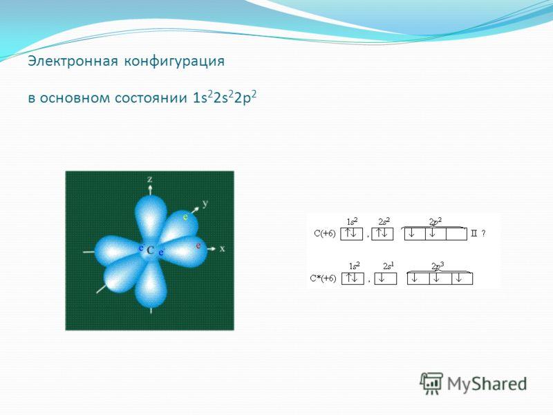 Электронная конфигурация в основном состоянии 1s 2 2s 2 2p 2