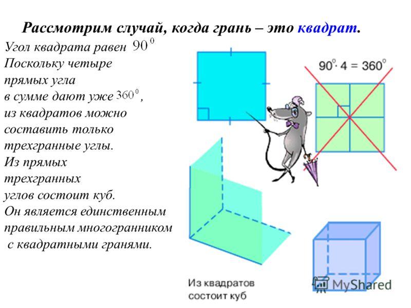 Угол квадрата равен Поскольку четыре прямых угла в сумме дают уже, из квадратов можно составить только трехгранные углы. Из прямых трехгранных углов состоит куб. Он является единственным правильным многогранником с квадратными гранями. Рассмотрим слу