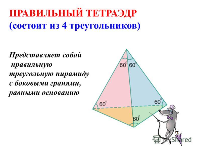 ПРАВИЛЬНЫЙ ТЕТРАЭДР (состоит из 4 треугольников) Представляет собой правильную треугольную пирамиду с боковыми гранями, равными основанию