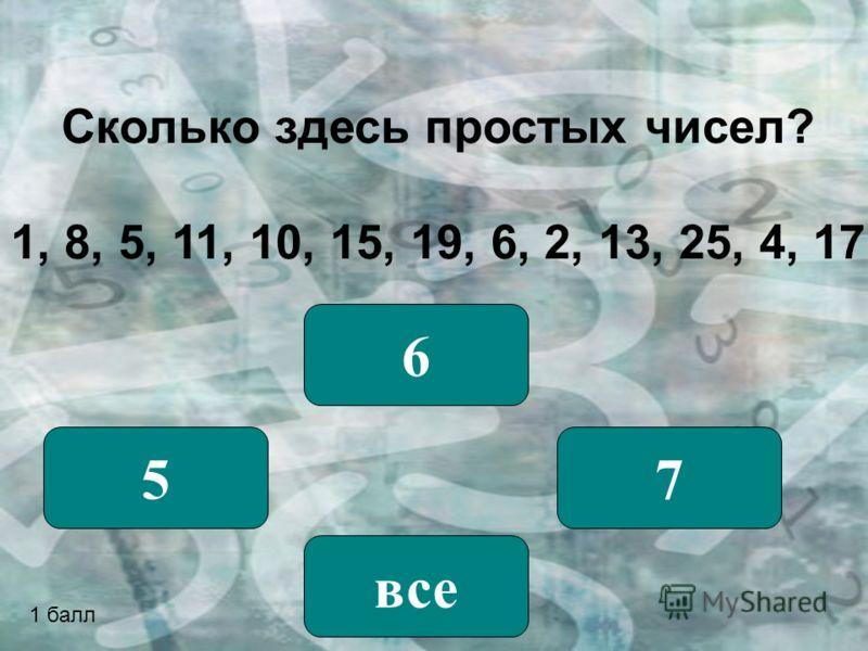 Сколько здесь простых чисел? 1, 8, 5, 11, 10, 15, 19, 6, 2, 13, 25, 4, 17 5 6 7 все 1 балл