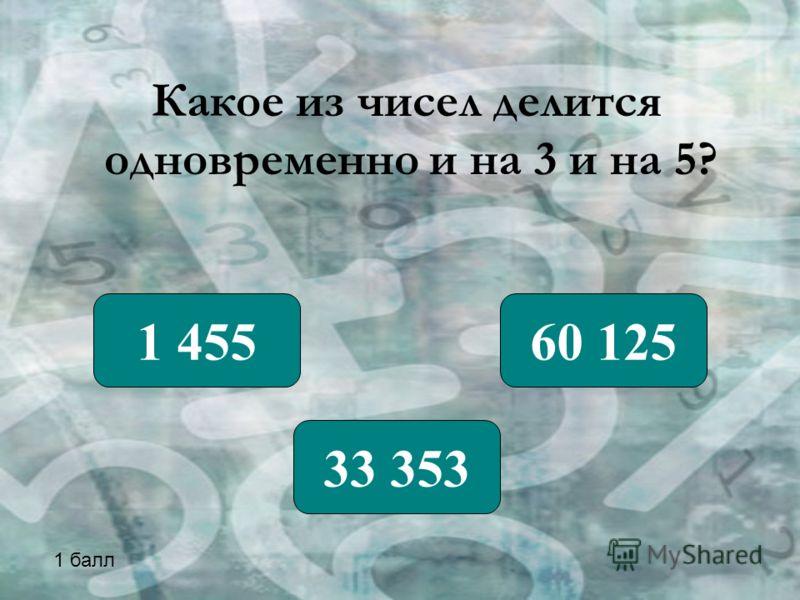 Какое из чисел делится одновременно и на 3 и на 5? 1 455 33 353 60 125 1 балл