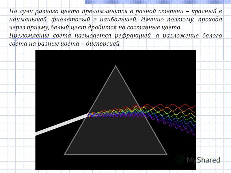 Но лучи разного цвета преломляются в разной степени – красный в наименьшей, фиолетовый в наибольшей. Именно поэтому, проходя через призму, белый цвет дробится на составные цвета. Преломление света называется рефракцией, а разложение белого света на р