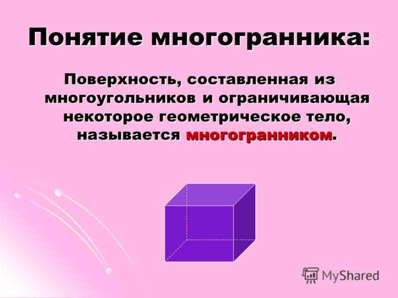 Понятие многогранника: Поверхность, составленная из многоугольников и ограничивающая некоторое геометрическое тело, называется многогранником.