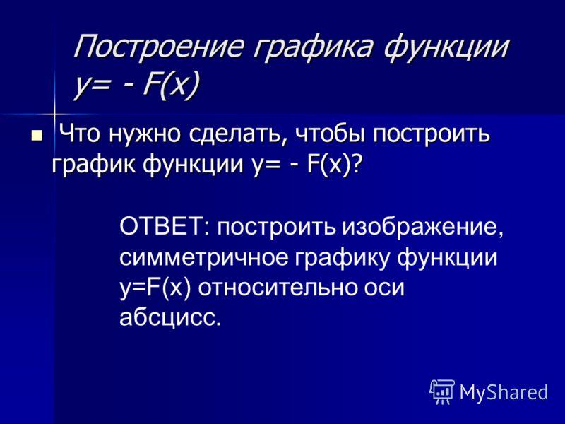Построение графика функции y= - F(x) Что нужно сделать, чтобы построить график функции y= - F(x)? Что нужно сделать, чтобы построить график функции y= - F(x)? ОТВЕТ: построить изображение, симметричное графику функции y=F(x) относительно оси абсцисс.