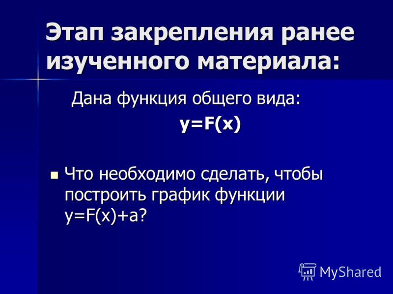 Дана функция общего вида: Дана функция общего вида: y=F(x) y=F(x) y=F(x) y=F(x) Что необходимо сделать, чтобы построить график функции y=F(x)+a? Что необходимо сделать, чтобы построить график функции y=F(x)+a? Этап закрепления ранее изученного матери