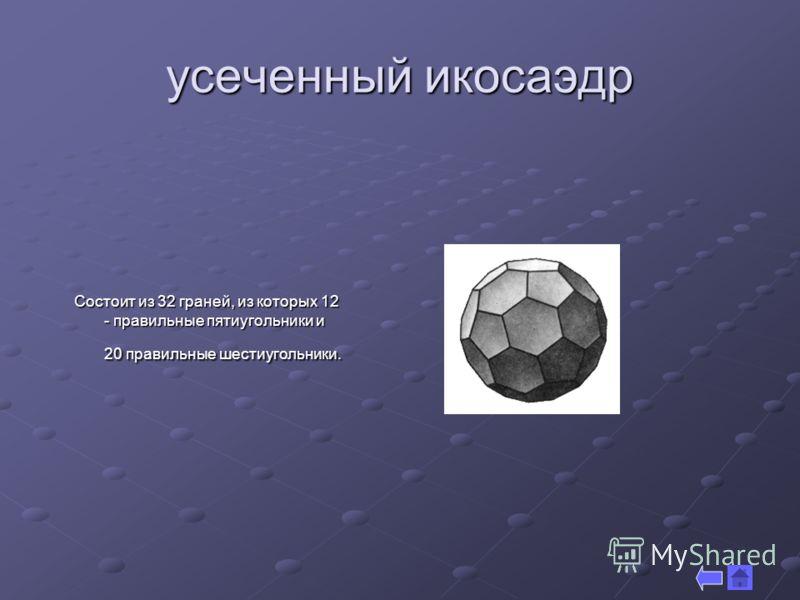 усеченный икосаэдр Состоит из 32 граней, из которых 12 - правильные пятиугольники и 20 правильные шестиугольники.