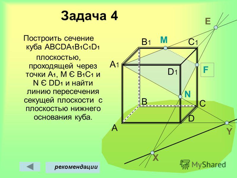 Задача 4 Построить сечение куба АВСDА 1 В 1 С 1 D 1 плоскостью, проходящей через точки А 1, M Є В 1 С 1 и N Є DD 1 и найти линию пересечения секущей плоскости с плоскостью нижнего основания куба. A B D C C1C1 B1B1 A1A1 M Х рекомендации Y D1D1 N F E