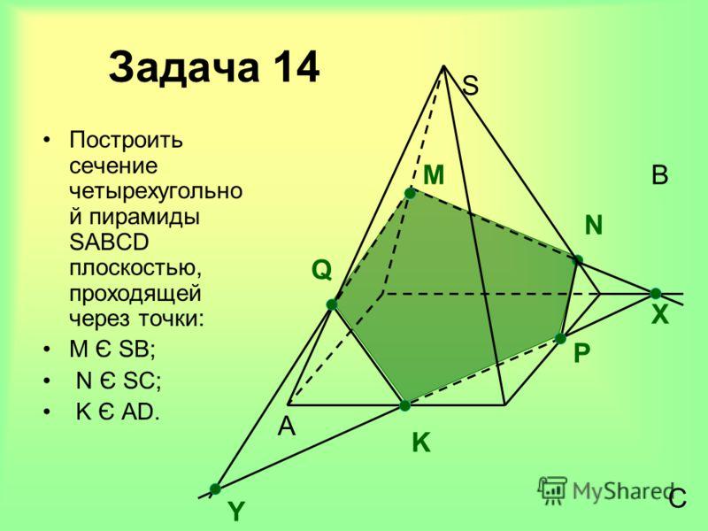 Задача 14 Построить сечение четырехугольно й пирамиды SABCD плоскостью, проходящей через точки: M Є SВ; N Є SC; K Є AD. A B C S M Х N P K Q Y