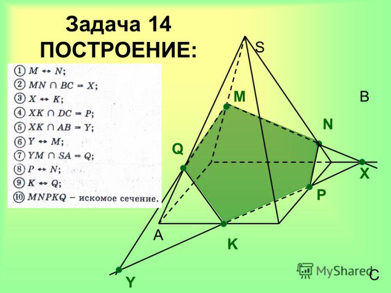 Задача 14 ПОСТРОЕНИЕ: A B C S M Х N P K Q Y