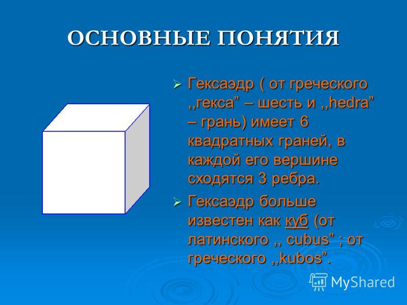 ОСНОВНЫЕ ПОНЯТИЯ Гексаэдр ( от греческого,,гекса – шесть и,,hedra – грань) имеет 6 квадратных граней, в каждой его вершине сходятся 3 ребра. Гексаэдр ( от греческого,,гекса – шесть и,,hedra – грань) имеет 6 квадратных граней, в каждой его вершине схо