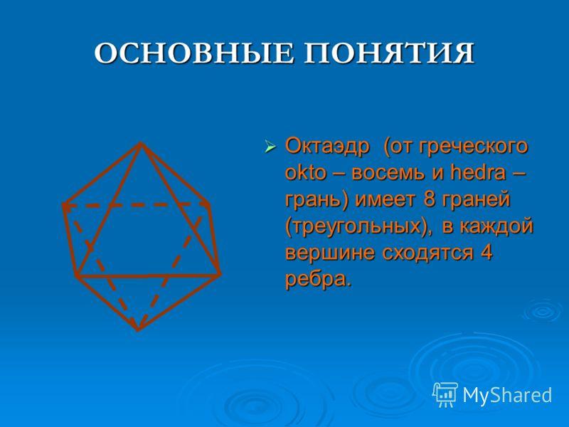 ОСНОВНЫЕ ПОНЯТИЯ Октаэдр (от греческого okto – восемь и hedra – грань) имеет 8 граней (треугольных), в каждой вершине сходятся 4 ребра. Октаэдр (от греческого okto – восемь и hedra – грань) имеет 8 граней (треугольных), в каждой вершине сходятся 4 ре